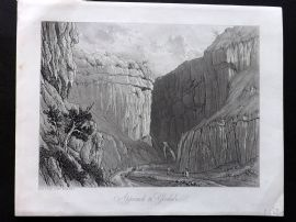Westall 1818 Antique Print. Approach to Gordale, Yorkshire